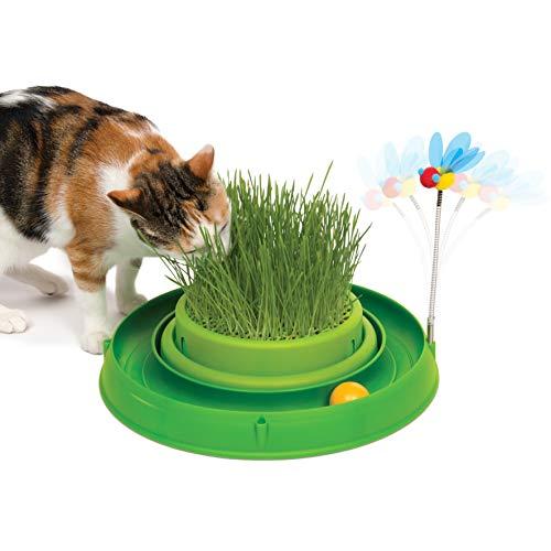 Catit 43002 3in1, mit Gras und Spielzeug, grün