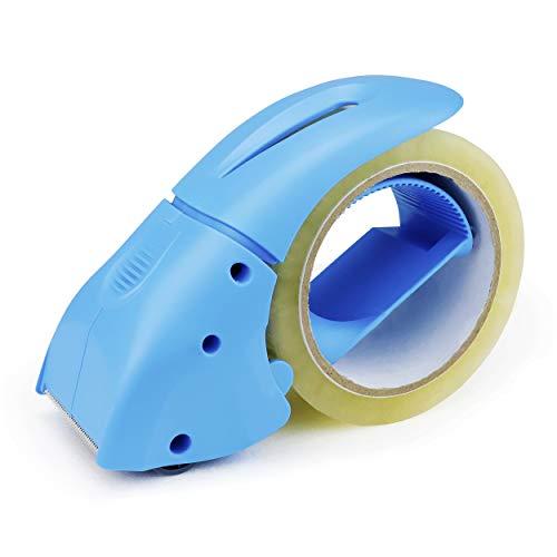 ABEL EVO Packing Tape Dispenser, Blue, 2 Inch Wide Ergonomic Tape Gun, Shipping Moving Mailing Box Sealing Carton Packaging, Lightweight Hand-held Heavy Duty Tape Cutter