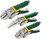 AIRAJ 3 piezas Alicates de presion de bloqueo,Alicates de mano antidesgaste de acero CR-V,Mordaza de presion de 220 y185mm, Alicate de punta de 220mm,Para apretar,apretar y fijar piezas pequeñas