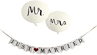 Just Married Banner & Wedding Balloons - Jumbo Mr & Mrs Balloon Set - Reception Sign Garland Photo Props - Decor Signs Bridal Decorations Supplies by Jolly Jon ®