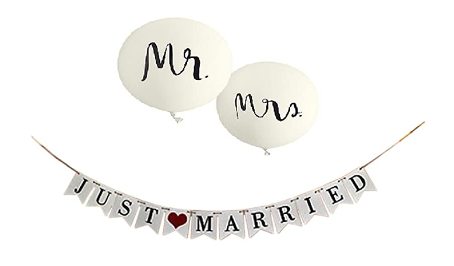Just Married Banner & Wedding Balloons - Jumbo Mr & Mrs Balloon Set - Reception Sign Garland Photo Props - Decor Signs Bridal Decorations Supplies by Jolly Jon ?