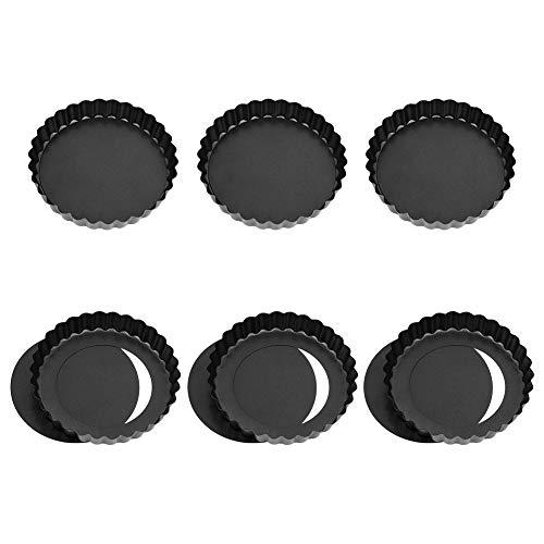 SUSSURRO - Stampo per quiche, in acciaio al carbonio, con fondo rimovibile, ø 12 cm, 6 pezzi