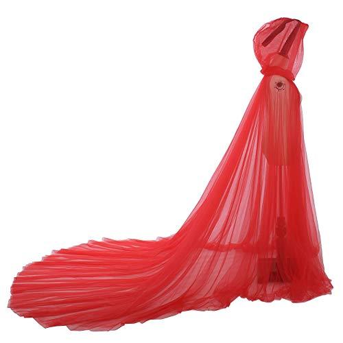 GRACEART Mujeres Princesa Capa Mantón De la Boda De la Gasa Capa con Capucha Largo Disfraz de Halloween para (Rojo)