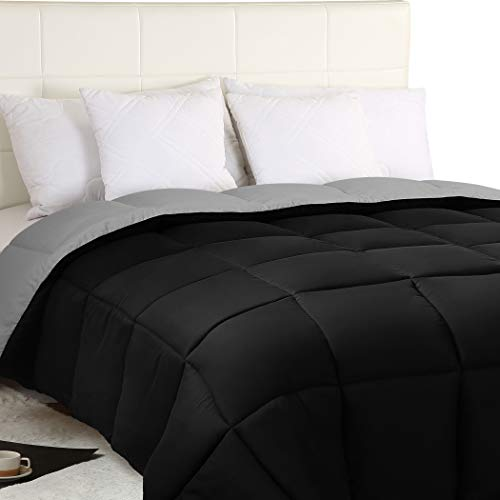 Utopia Bedding Down Alternative Reversible Comforter All Season Duvet Insert Microfiber Box Stitched, 3D Hollow Siliconized Comforter, Twin, Black/Grey