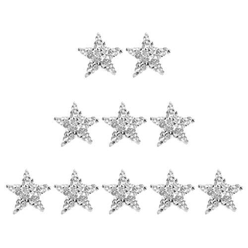 Artibetter 10 Stks Borduurwerk Naai Patch Kristal Bling Sparkle Ster Doek Sticker Art Craft Pentagram Patch Voor Kleding Broek Shirts Zilver