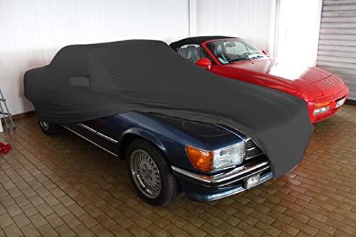 AMS Vollgarage Mikrokontur® Schwarz mit Spiegeltaschen für Mercedes SL Cabriolet R107, schützende Autoabdeckung mit Perfekter Passform, hochwertige Abdeckplane als praktische Auto-Vollgarage