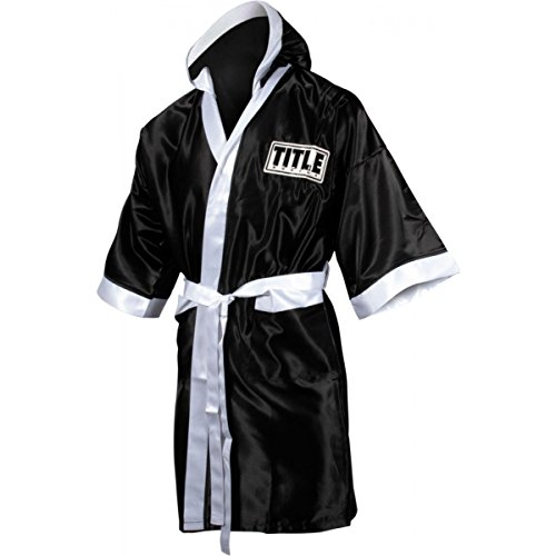 TITLE Boxing Full Length Stock Satin Robe, Black/White, Medium
