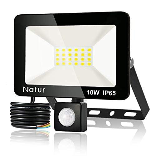 10W Foco LED con Sensor de Movimiento, Proyector Led Exterior Super Brillante 6000K Blanco Frío Foco LED Detector IP65 Impermeable para Jardín, Patio, Garaje