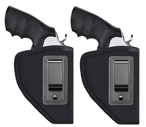 TACwolf 2 Pack Revolvers Holster Inside IWB Holster Waistband Fits Most J Frame Revolvers Ruger LCR Smith and Wesson Body Guard Taurus Charter & Most .38 Special Type Guns