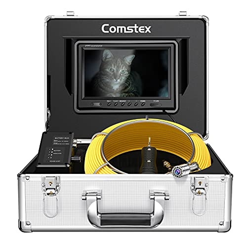 Sewer Camera 100ft/30m, Comstex Sewer Inspection Camera 9 inch LCD Monitor with DVR, Video Pipe...