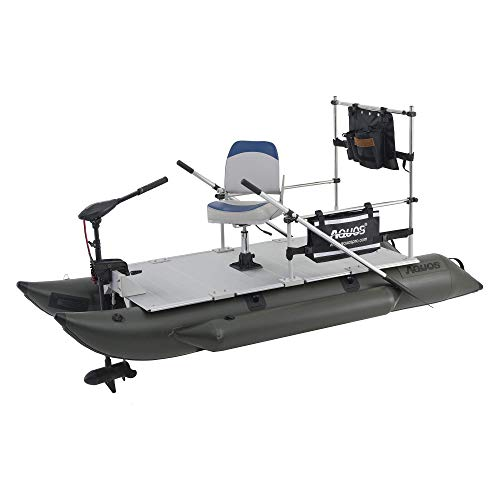 AQUOS 2021 Heavy-Duty for One 10.2 plusft Inflatable Pontoon Boat with Stainless Steel Guard and Folding Seat and Haswing 12V 55LBS Bow Mount Trolling Motor for Fishing