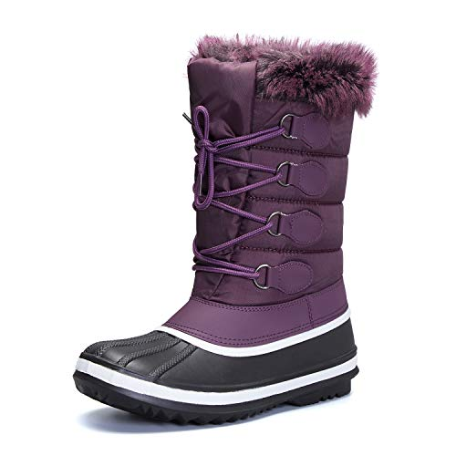 mysoft Women's Waterproof Winter Boots, Warm Insulated Snow Boots for Outdoor Purple 8