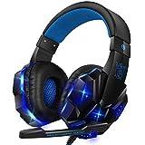 【2020最新版】 ゲーミングヘッドセット ps4 ヘッドセット LEDマイク付き 有線 超軽量 通気 高音質 ノイズキャンセリング 重低音強化 伸縮可能 FPS PUBG ゲーム用 PC用ヘッドセットに最適 男女兼用