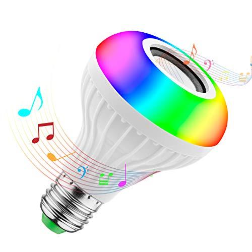 Glühbirne Lautsprecher, JOLVVN Farbige Leuchtmittel LED Lampe Bluetooth Musik Lampen Smarte E27 RGBW, Dimmbar, Licht Lampe für Schlafzimmer, Schrank, Bar, Party, Zuhause, Hotel Deko Licht