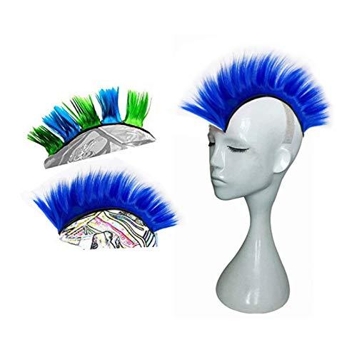 Hai Hong Helmet Hawks Motorcycle Helmet Mohawk Synthetic Wigs for Bicycle/Almost Helmet/Stick Reusable Design (Blue)