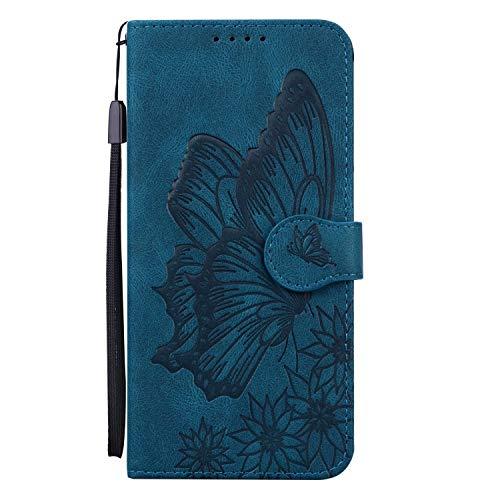 Miagon Hülle für Xiaomi Redmi Note 9S,Schutzhülle PU Flip Leder Brieftasche Handytasche mit Retro Schmetterling Entwurf Kartenfächer Klapp Handyhülle,Blau