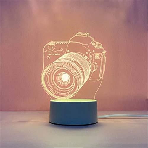 Phosphor-Explosions-3D-Nachtlicht, kreatives Schlafzimmer, kleine Tischlampe, LED-Geschenk-Tischlampe, USB-Nachtlicht, Acryl + ABS, D (Kamera), 4*1.6IN