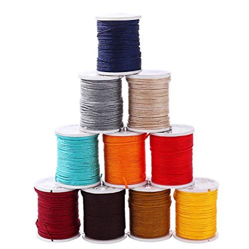 Healifty Rollos de Nylon para Fabricación de Joyas Abalorios de Hilo de Cuerda Cuerdas para DIY Collar Pulsera Fabricación de Artesanía 0.8 mm 10 rollos