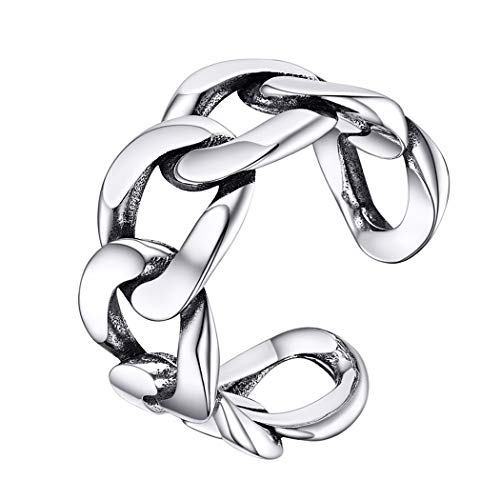 Chunky Silver Rings for Teenage Girls Valentine Day Gift Solid 925 Sterling Silver Cuban Link Rings Open