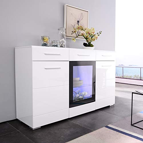 Mecor Led Sideboard Cabinet Buffet Kitchen Sideboard And Storage Cabinet Tv Stand High Gloss Led Dining Room Server Console Table Storage With 3 Door 2 Drawers White Buy Online In Aruba At Aruba Desertcart Com Productid