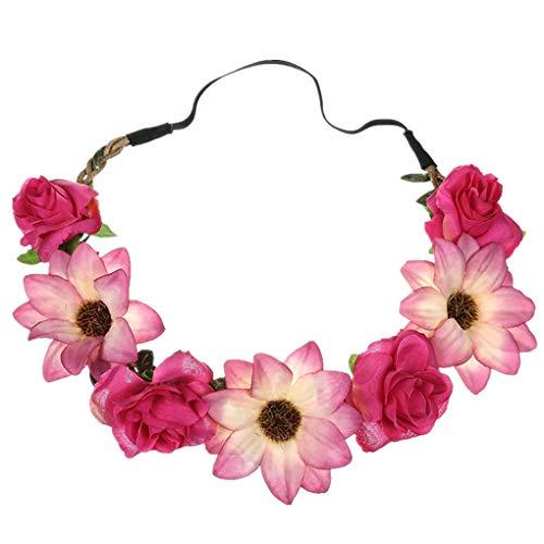 Dorical Stirnband Blumen, 1 Stück Stirnbänder Krone Haarband Kopfband Blume Haarbänder mit Elastischem Band für Hochzeit und Party Haarbänder Band für Frauen Mädchen (One Size, Z002-Hot Pink)