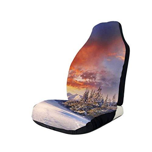 Cubiertas de los asientos delanteros del automóvil Protector del vehículo, épico cielo nublado sobre montañas y pasos en el diseño del valle, se adapta a la mayoría de los automóviles, sedán, camión,