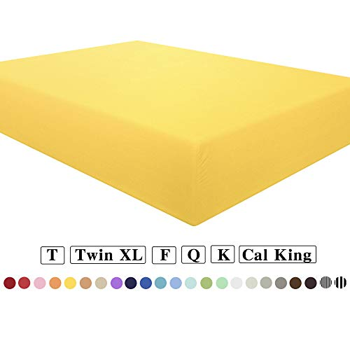 NTBAY Microfiber Queen Fitted Sheet, Wrinkle, Fade, Stain Resistant Deep Pocket Bed Sheet, Yellow