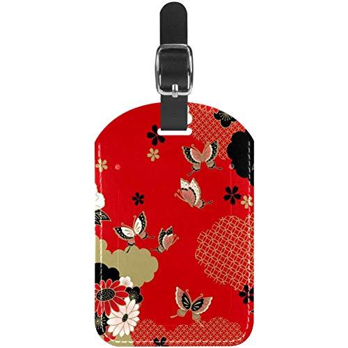 Etiquetas de equipaje de piel con diseño de flores y mariposas para maleta de viaje, 1 paquete