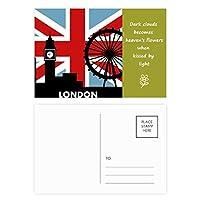 英国のユニオンジャックロンドンアイ英国ビッグベンの旗 詩のポストカードセットサンクスカード郵送側20個
