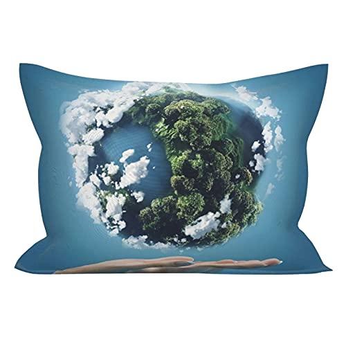 Funda de almohada World Peace Earth Hand Friendly Freedom Pray, ligera, supersuave, resistente a las manchas, funda de almohada con cierre de funda de almohada de tamaño estándar de 50 x 60 cm