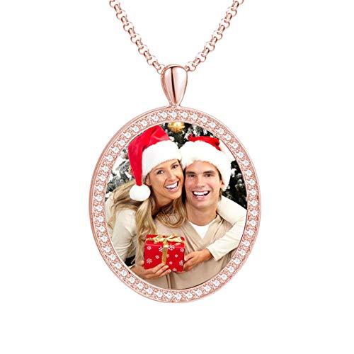 Collar de foto personalizado Collar de texto de imagen personalizado Collar de plata esterlina Collar con etiqueta de perro(Chapado en oro rosa de 18 k 14)