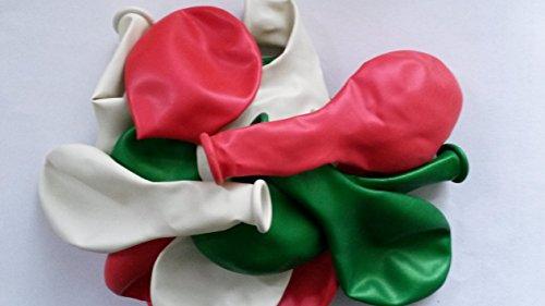 Sachsen Versand 50-rot-weiß-grün glänzend Perlmutt Luft-Ballons Feier Deco Geburtstag Fete Helium geeignet EU Ware