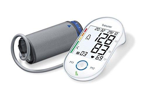 Beurer BM 55 Oberarm-Blutdruckmessgerät mit patentiertem Ruheindikator für genaue Messergebnisse, mit USB-Schnittstelle, Risiko-Indikator, Arrhythmie-Erkennung, für Oberarmumfänge von 22-42 cm