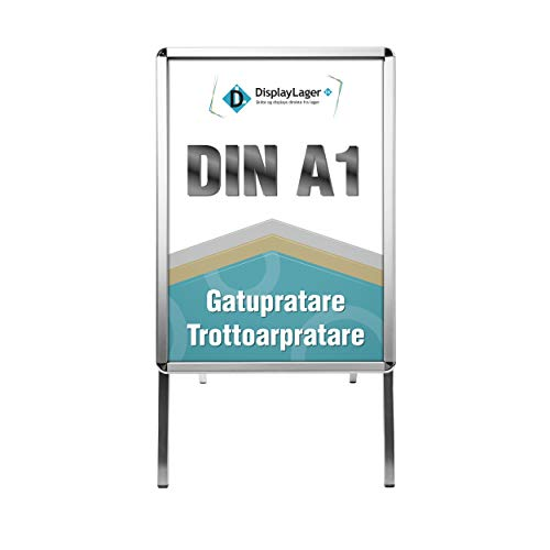 Espositore professionale in alluminio Line Rondo DIN A1 per 2 manifesti (su entrambi i lati) – resistente alle intemperie