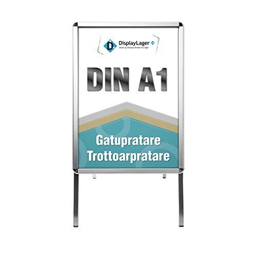 Profi - Kundenstopper Alu-Line Rondo DIN A1 für 2 Plakate(beidseitig) - Wetterfest Plakatständer Gehwegaufsteller Werbetafel
