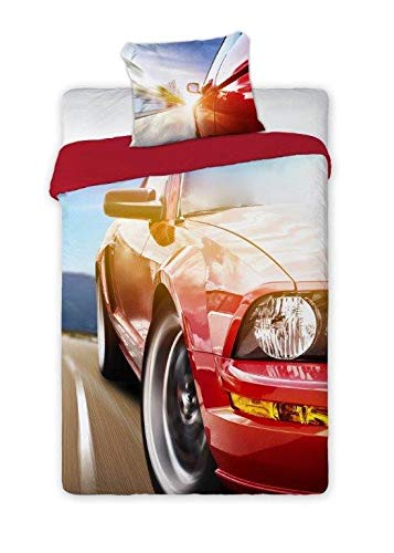 SaYes beddengoed met auto, Mustang - 100% katoen, 160 x 200 cm, 70 x 90 cm