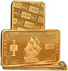 Metal Art Collection - 1 oz One Troy Ounce USA Iron Ship .999 Fine Copper Bullion Bar Ingot Cu Element