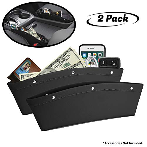 lebogner 2 Pack Car Seat Gap Filler Premium PU Full Leather Seat Console Organizer, Car Pocket Organizer, Car Interior Accessories, Car Seat Side Drop Caddy Catcher