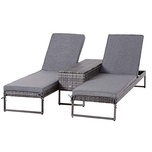 Outsunny Gartenliege, Relaxliege für 2 Personen, 3-teiliger Set, Doppelliege mit Beistelltisch, 5-stufige Rückenlehne, Metall, PE Rattan, Grau, 195 x 60 x 86 cm
