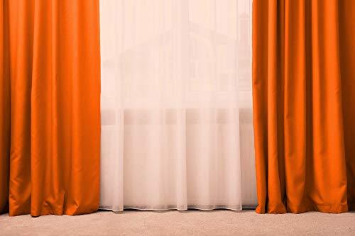 Generico Tenda/Tendone 100% Seta,137x280 Oppure 300 Tenda Oscurante con Passanti, Tenda a Drappeggio (Arancione)
