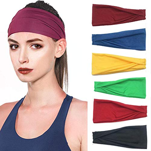 FeiLuo 6 Stück Sport Stirnband Set für Damen und Herren, Stirnbänder für Fitness und Freizeit, Atmungsaktive Elastische Schweißband Wicking Haarband für Yoga, Laufen, Radfahren, Tanzen, Basketball