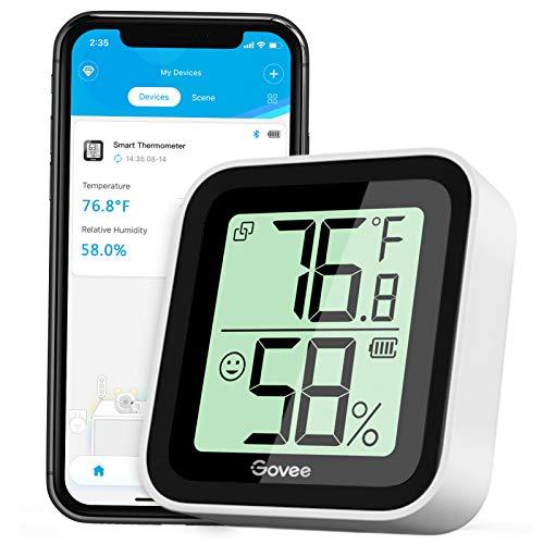 Govee Termómetro Higrómetro, Bluetooth Sensor Interior de Temperatura y Humedad con Alerta & 2s de Actualización, 2 Años Exportación de Datos, Adecuado para Habitación Casa Invernadero Bod