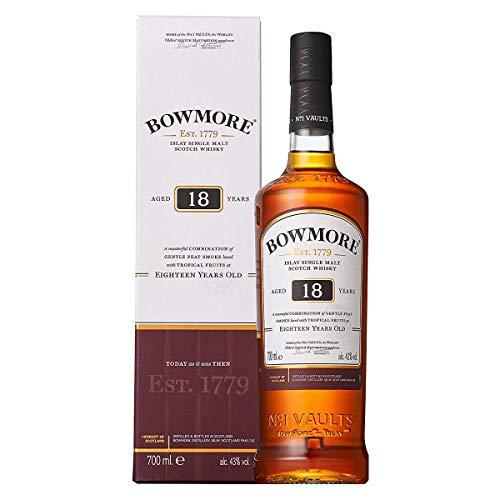Bowmore 18 Jahre Islay Single Malt Scotch Whisky, mit Geschenkverpackung, komplexer Geschmack mit leichter Rauchnote 43% Vol, 1 x 0,7l