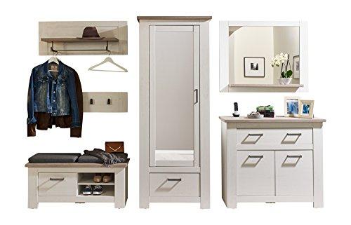 trendteam Garderoben-Kombination im Landhausstil mit viel Stauraum, Holz, weiß, 40.0 x 313.0 x 196.0 cm