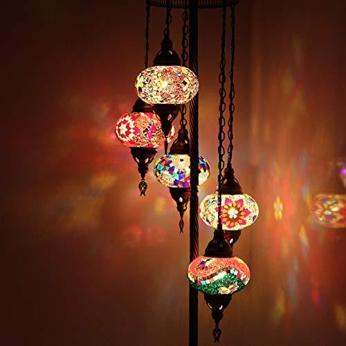 Lámpara de pie decorativa tradicional multicolor turca marroquí hecha a mano con mosaico, 5 piezas