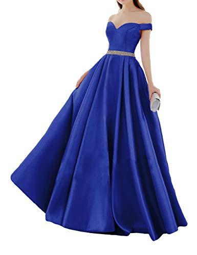 HUINI Elegant Abendkleider Satin Herzausschnitt Brautkleider Lang Ballkleider Schulterfrei Hochzeitskleider Quinceanera Kleider Königsblau 44