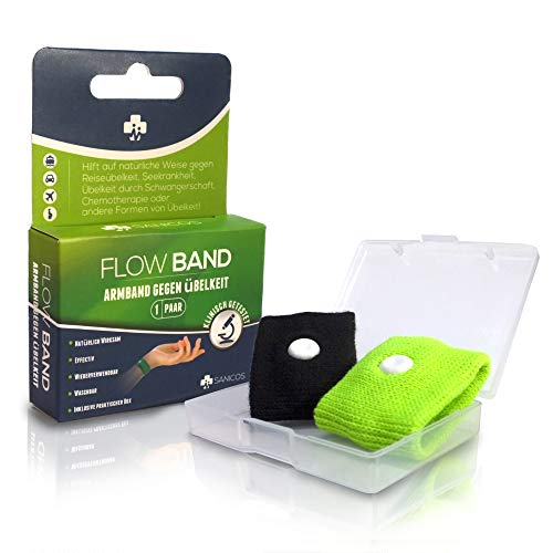 Sanicos Flow Band - Hochwertiges Akupressur Armband – Befreit zuverlässig von Übelkeit – Natürlich wirksam bei Schwangerschaftsübelkeit, Seekrankheit, Reiseübelkeit uvm - grün