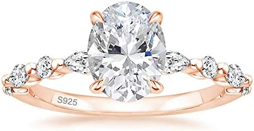 EAMTI 925 Sterling Silver Ring Oval Cut Rose Gold Cubic Zirconia Engagement Rings Solitaire product image