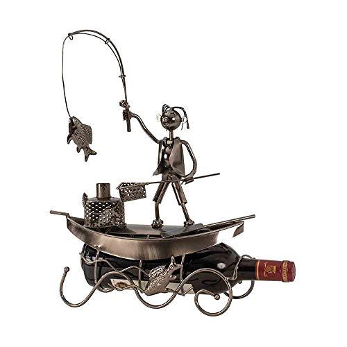Mel O Design Moderna Bottiglia di Vino Titolare in Metallo Pescatore Barca in Argento Altezza 39 cm Larghezza 29,5 cm