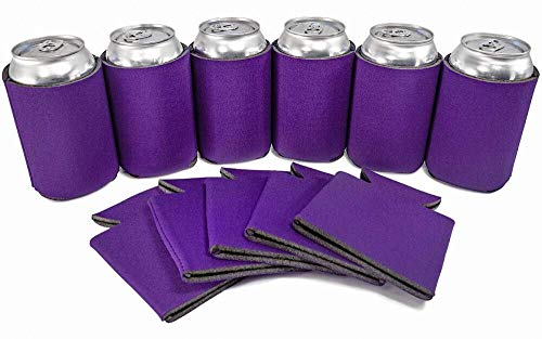 PartyPrints 25 Can Sleeves - Bulk Blank Can Coolers - Beer Sleeves for Cans and Bottles - Blank Drink Coolers - DIY Party Gift - Purple